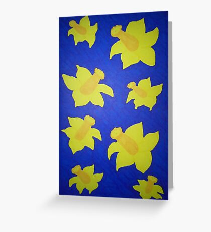 Pop Art Daffodils in Blue Greeting Card