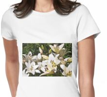 White Lilies In The Garden Womens Fitted T-Shirt