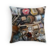 Sewing Paraphernalia (Bits and Bobbins) Throw Pillow