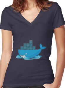 Docker Moby Whale Women's Fitted V-Neck T-Shirt