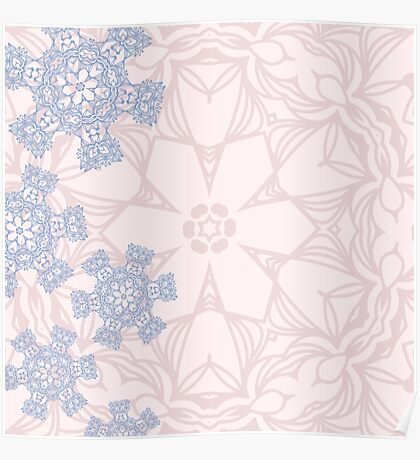 Rose Quartz and Serenity Blue design with abstract snowflakes Poster