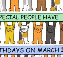 Cats celebrating birthdays on March 17th. Sticker