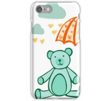 Bear with Umbrella, blue and orange iPhone Case/Skin