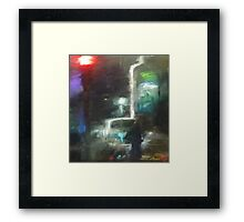 Abstract winter melbourne cityscape  Framed Print