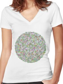 Tropical florals Women's Fitted V-Neck T-Shirt