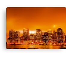 Under A Blood Red Sky - New York Skyline Canvas Print