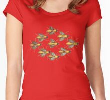 Nine bees, vintage retro design Women's Fitted Scoop T-Shirt