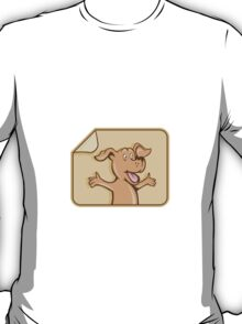 Dog Arms Out Label Cartoon T-Shirt