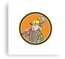 Fireman Firefighter Axe Circle Cartoon Canvas Print