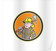Fireman Firefighter Axe Circle Cartoon Poster