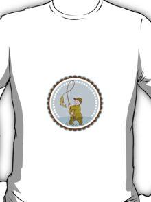 Fly Fisherman Fish On Reel Rosette Cartoon T-Shirt