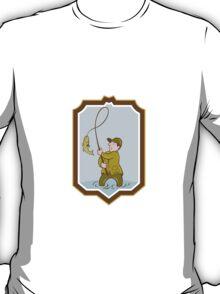 Fly Fisherman Fish On Reel Shield Cartoon T-Shirt