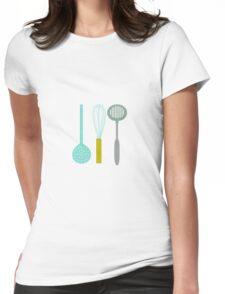 AFE Kitchen Utensils Pattern Womens Fitted T-Shirt