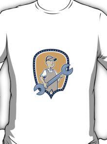 Mechanic Spanner Wrench Shield Cartoon T-Shirt