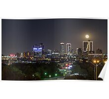 Supermoon Over Downtown Fort Worth Poster
