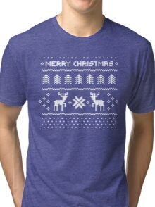 Merry Christmas Ugly Shirt - Pixel deers and christmas trees Tri-blend T-Shirt