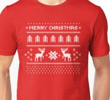 Merry Christmas Ugly Shirt - Pixel deers and christmas trees Unisex T-Shirt