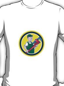 Plumber Monkey Wrench Rosette Cartoon T-Shirt