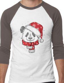 Panda Christmas with hat and scarf Men's Baseball ¾ T-Shirt