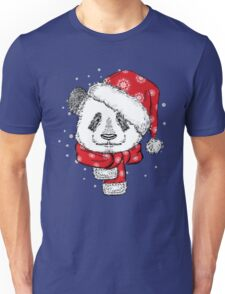 Panda Christmas with hat and scarf Unisex T-Shirt