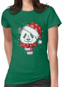 Panda Christmas with hat and scarf Womens Fitted T-Shirt