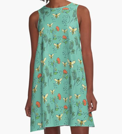 Bees and Flowers A-Line Dress