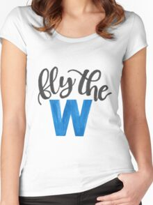 Fly the W - cubs Women's Fitted Scoop T-Shirt