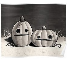 Old Friends - Pumpkins in Black and Grey Poster
