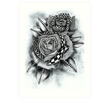 Tattoo Rose Greyscale Art Print