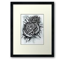 Tattoo Rose Greyscale Framed Print