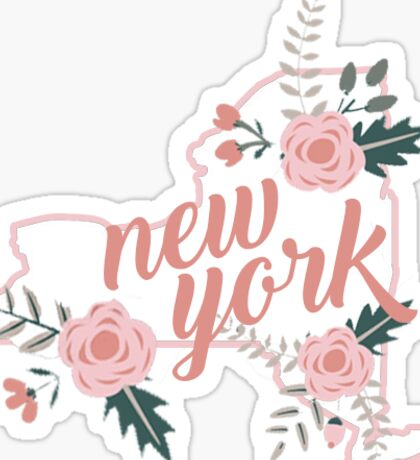 New York Floral State Sticker