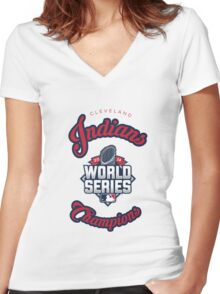 Cleveland Indians World Series Champs 2016 Women's Fitted V-Neck T-Shirt