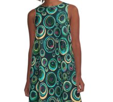 Retro Turquoise Spin A-Line Dress
