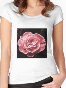 Pink abstract fractal rose flower Women's Fitted Scoop T-Shirt