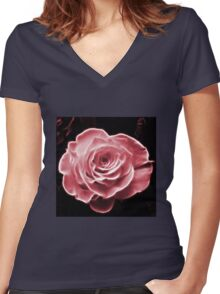 Pink abstract fractal rose flower Women's Fitted V-Neck T-Shirt
