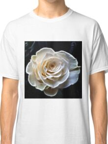 White abstract fractal rose flower Classic T-Shirt