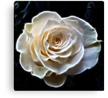 White abstract fractal rose flower Canvas Print