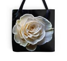 White abstract fractal rose flower Tote Bag