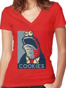 COOKIES we can believe in! Women's Fitted V-Neck T-Shirt