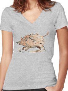Warthog sketch Women's Fitted V-Neck T-Shirt