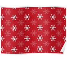 Snowflake Pattern | Red and White Poster