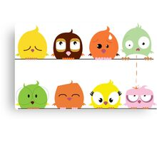 Funny cute cartoon birds Canvas Print