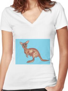 Sheila and Joe Roo  Women's Fitted V-Neck T-Shirt