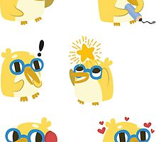 Cute Yellow Penguin Character by Claire Stamper