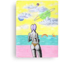 Beach alien bikini babe fantasy sea monster Canvas Print