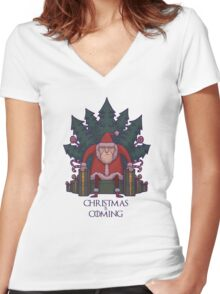 Santa of Thrones: Christmas Is Coming Women's Fitted V-Neck T-Shirt
