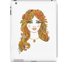 Lovely girl face with curly hair and autumn leaves iPad Case/Skin