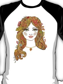 Lovely girl face with curly hair and autumn leaves T-Shirt