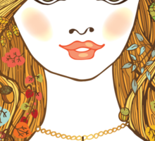 Lovely girl face with curly hair and autumn leaves Sticker