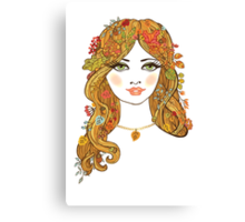 Lovely girl face with curly hair and autumn leaves Canvas Print